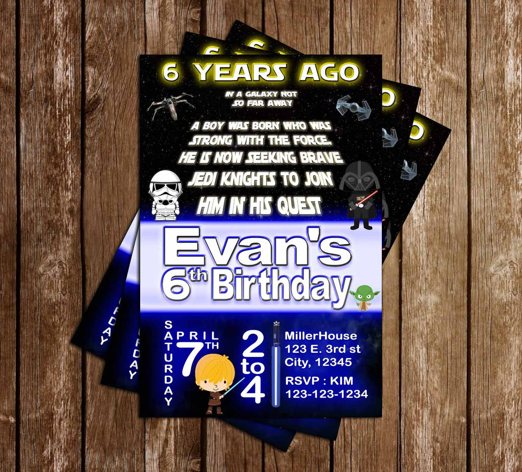 Little Jedi - Star Wars  Birthday Party Invitation Printable