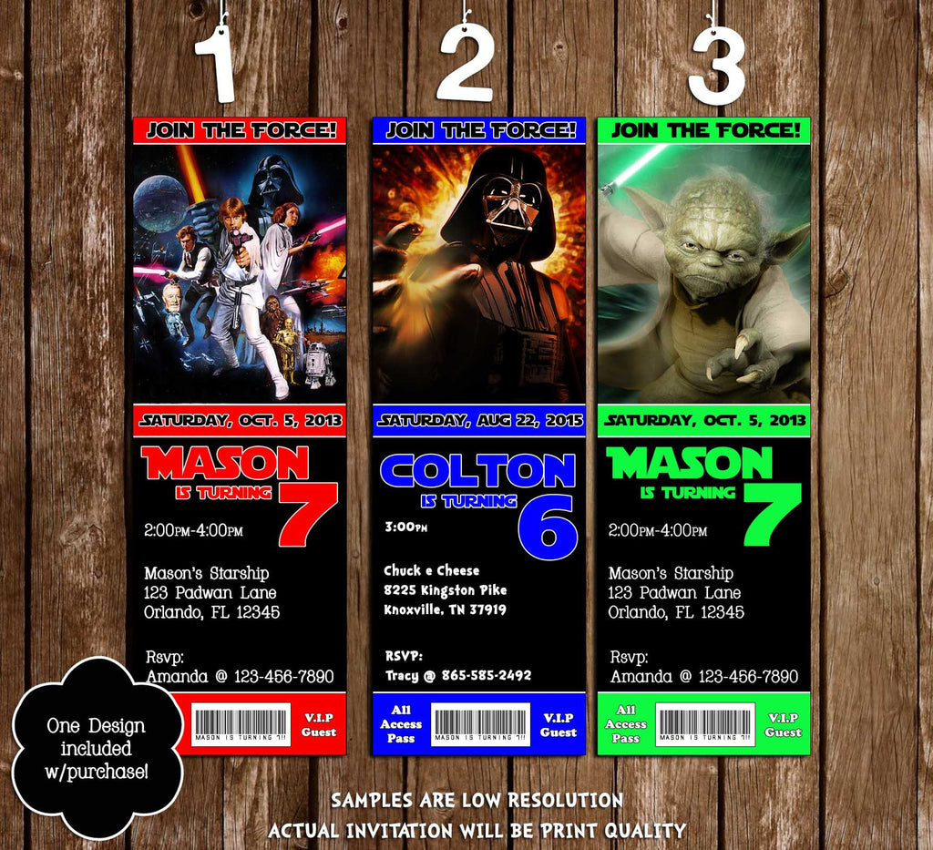 Star Wars Movie Birthday Party Ticket Invitation Printable  Printable Ticket Invitations