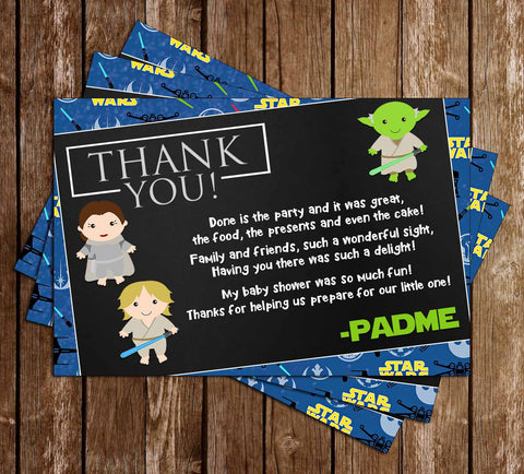 A New Jedi - Star Wars - Baby Shower - Thank You Card