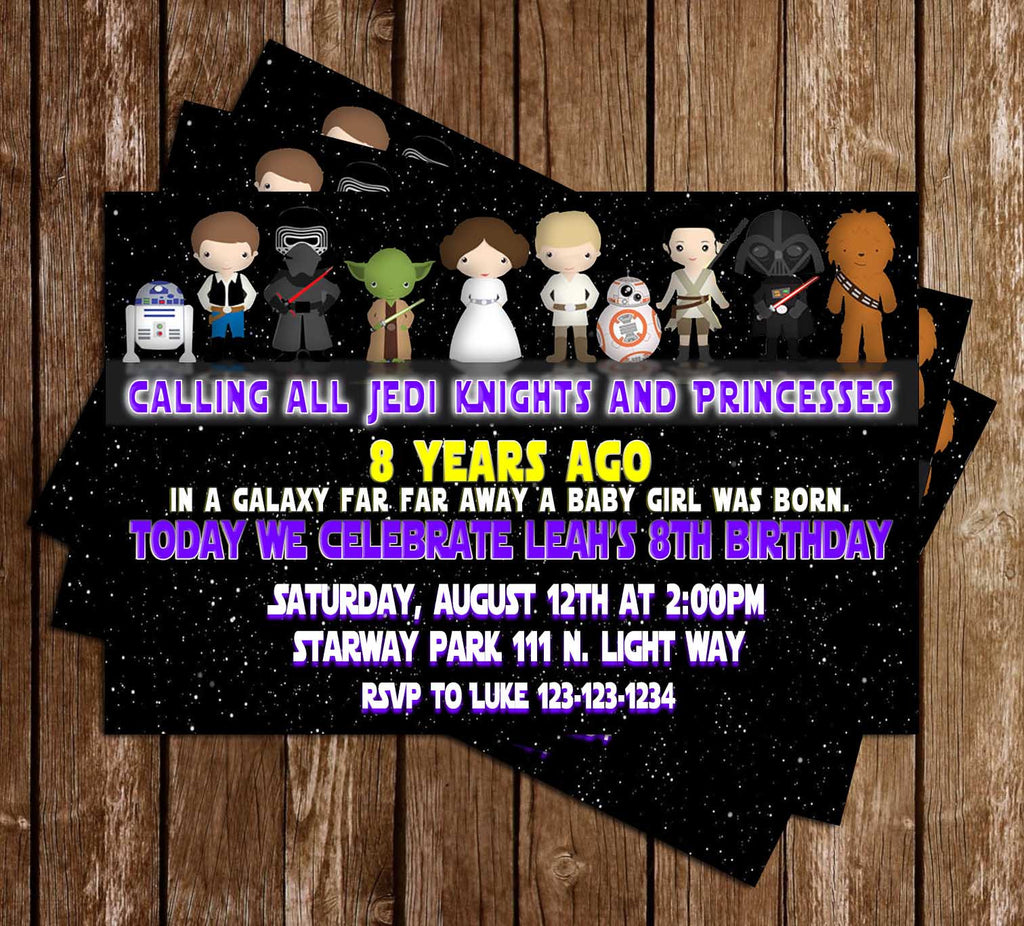 Star Wars -  Force Awakens - Girl - Birthday Party - Invitation