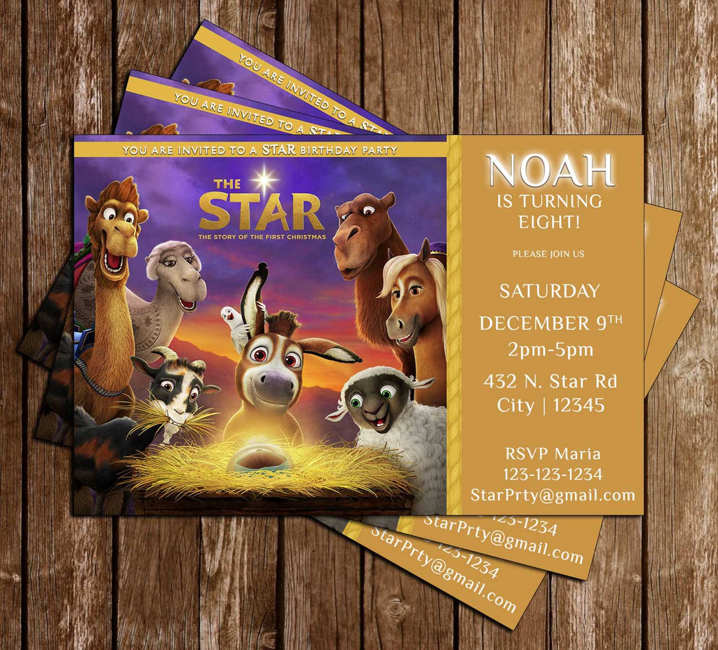 novel concept designs the star movie birthday party invitation