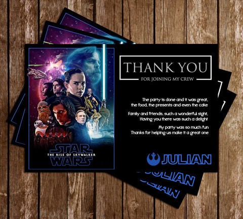 Star Wars - Rise of Skywalker - Birthday Party - Thank You Card
