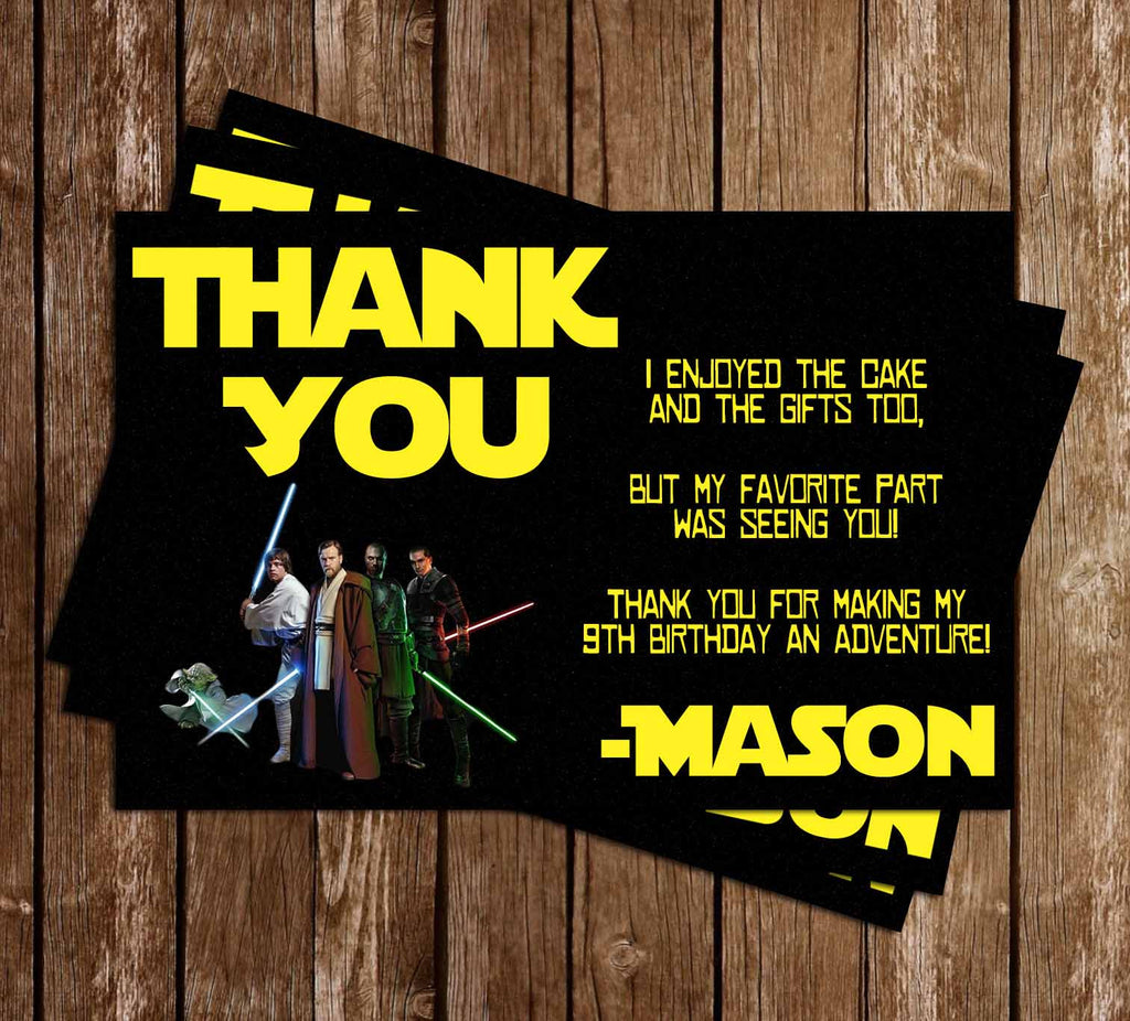 Star Wars  Birthday Party Thank You Card Printable