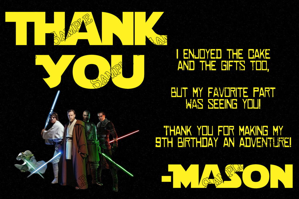 Novel Concept Designs Star Wars Birthday Party Thank You Card – Printable Birthday Thank You Cards