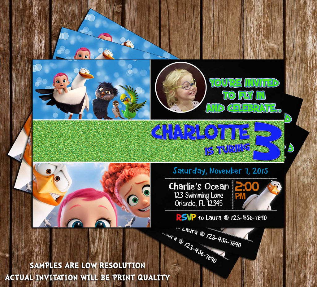 storks movie birthday party invitation - Movie Birthday Party Invitations