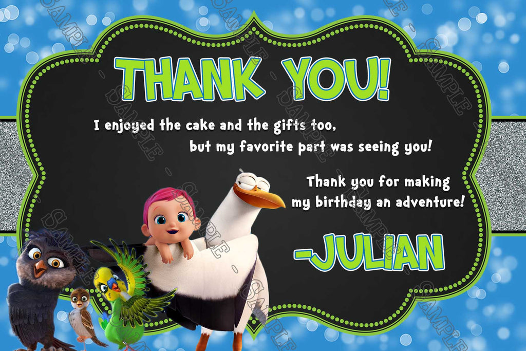 Novel Concept Designs The Storks Movie Birthday Party Thank – Movie Themed Party Invitations