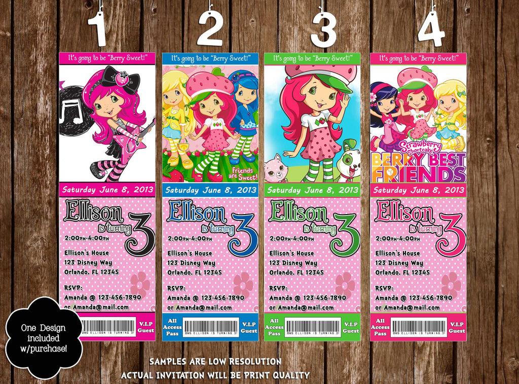 Novel Concept Designs - Strawberry Shortcake Birthday Party Ticket