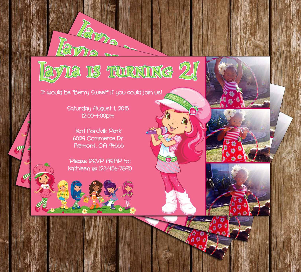 Strawberry Shortcake Birthday Invitation