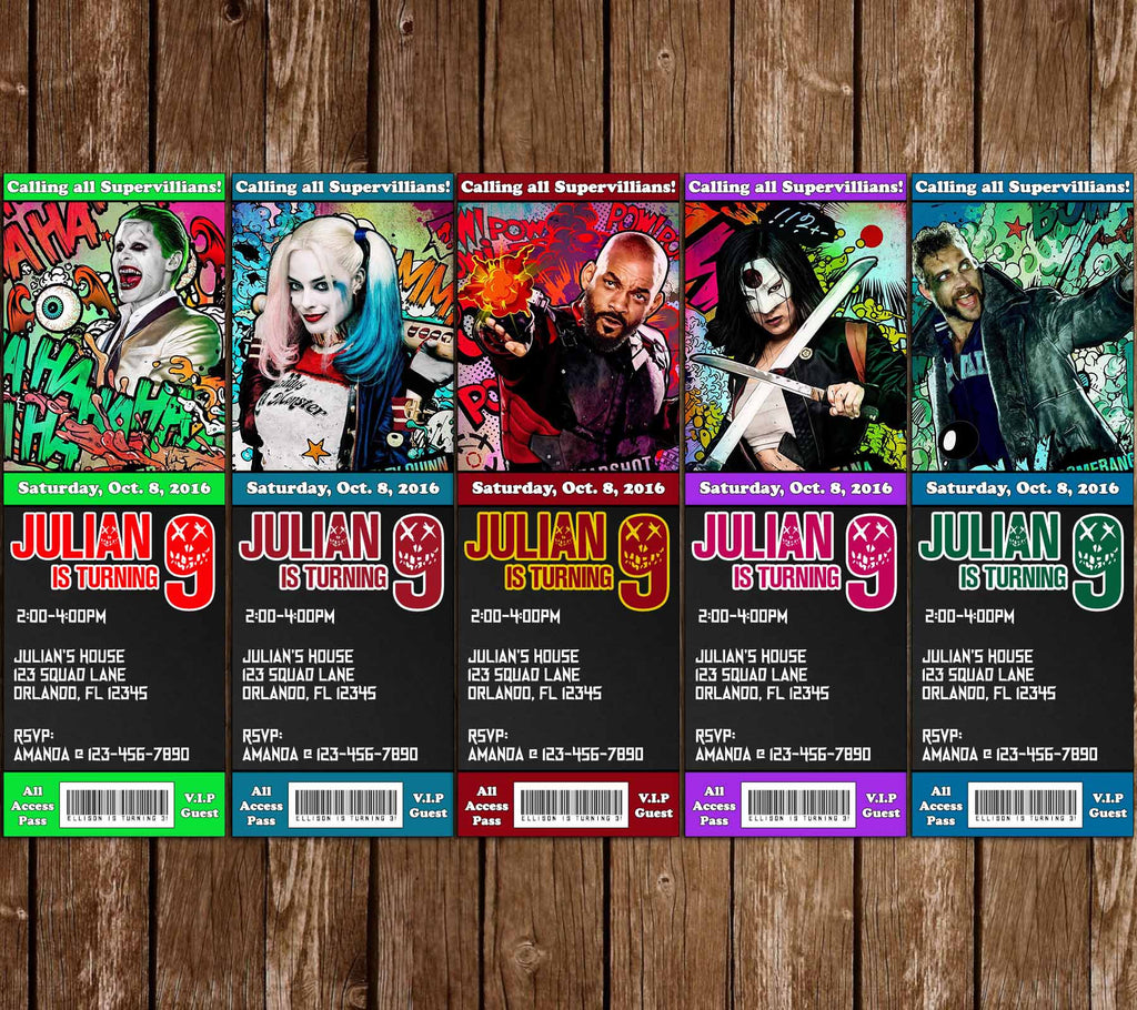 Suicide Squad Movie Birthday Ticket Invitation