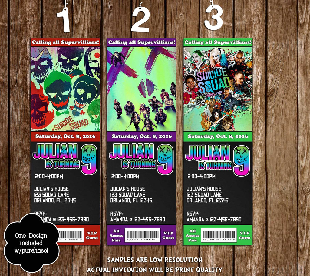 Novel Concept Designs Suicide Squad Birthday Ticket Invitation