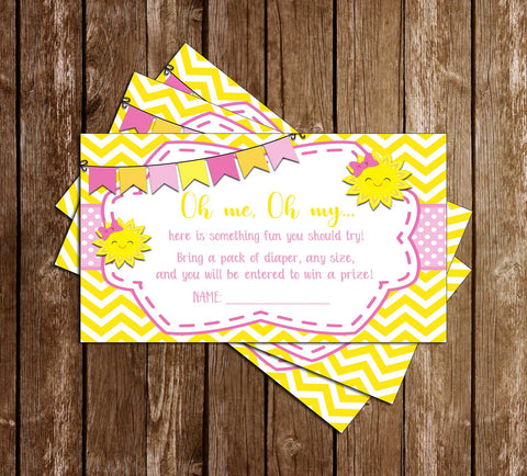 Sunshine - Baby Shower - Diaper Raffle Ticket
