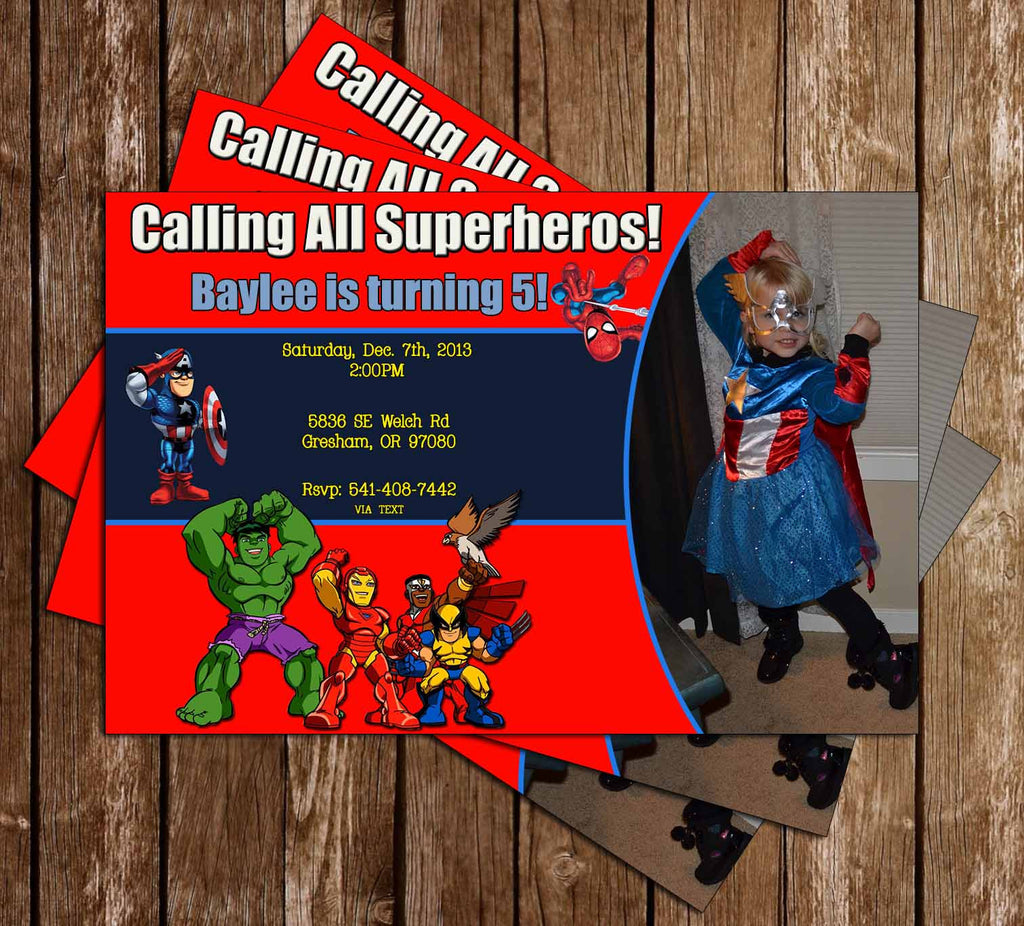Superhero Squad Birthday Invitation with Photo of Your Child