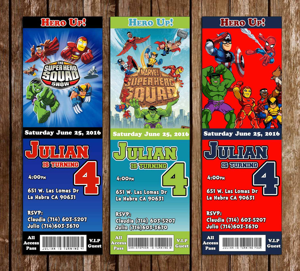 Superhero Squad Birthday Ticket Invitation