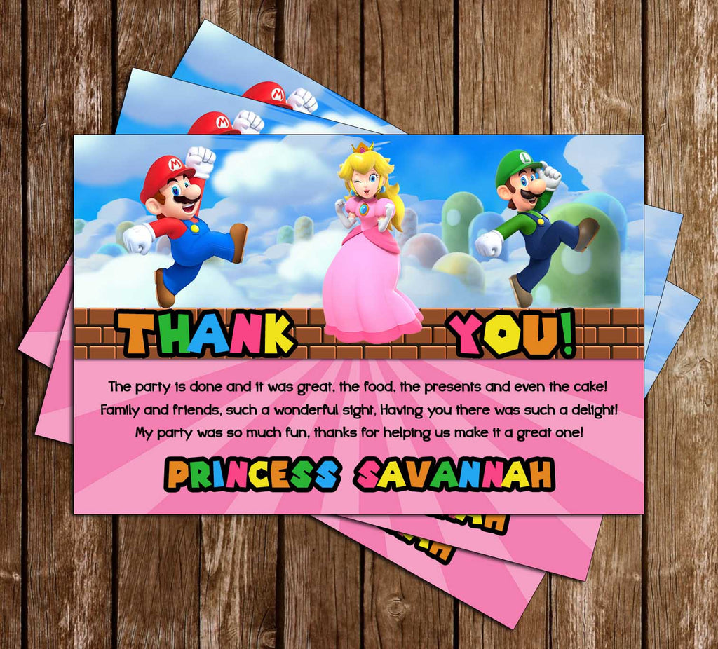 Super Mario Bros - Girls Pink - Birthday - Thank You Card