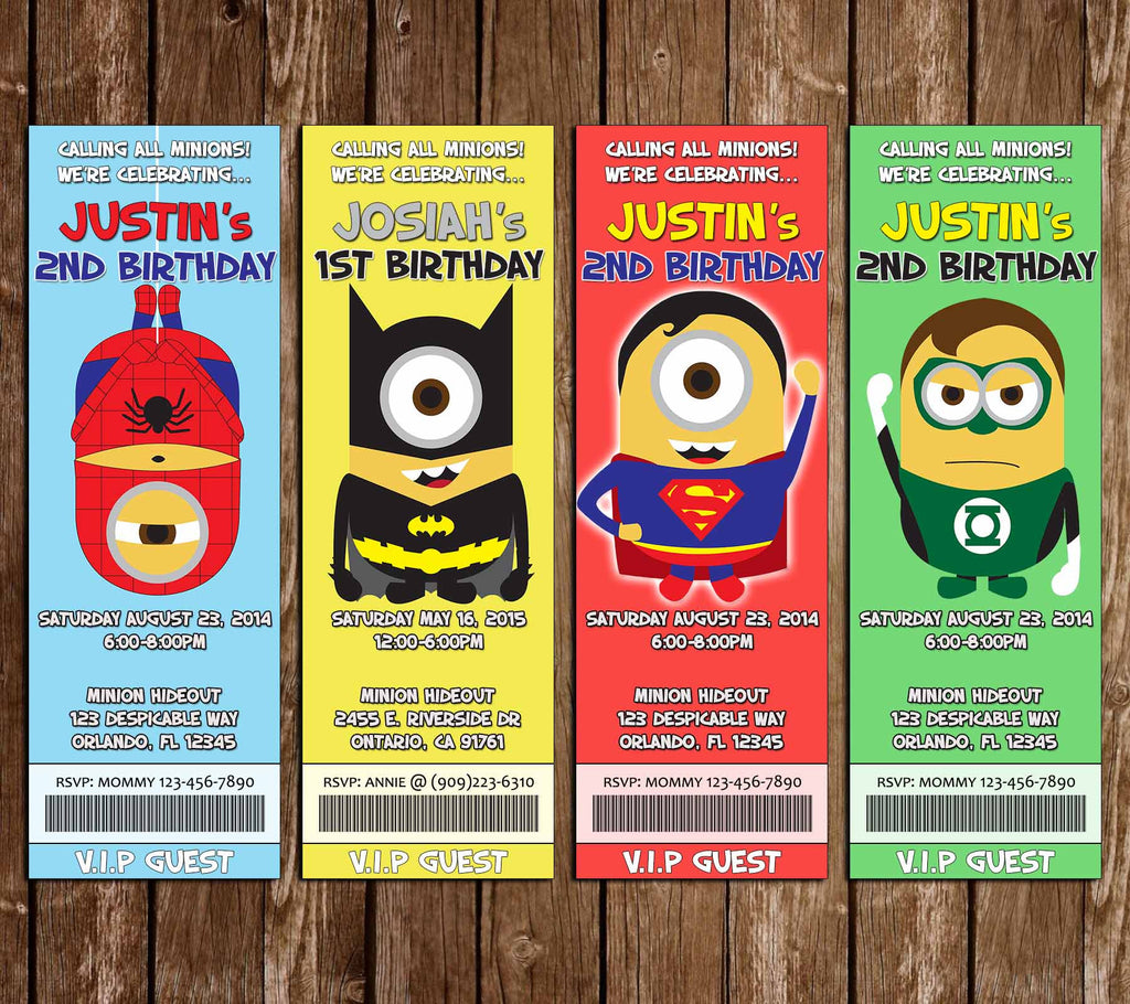 Super-Hero Minions Birthday Party Ticket Invitation