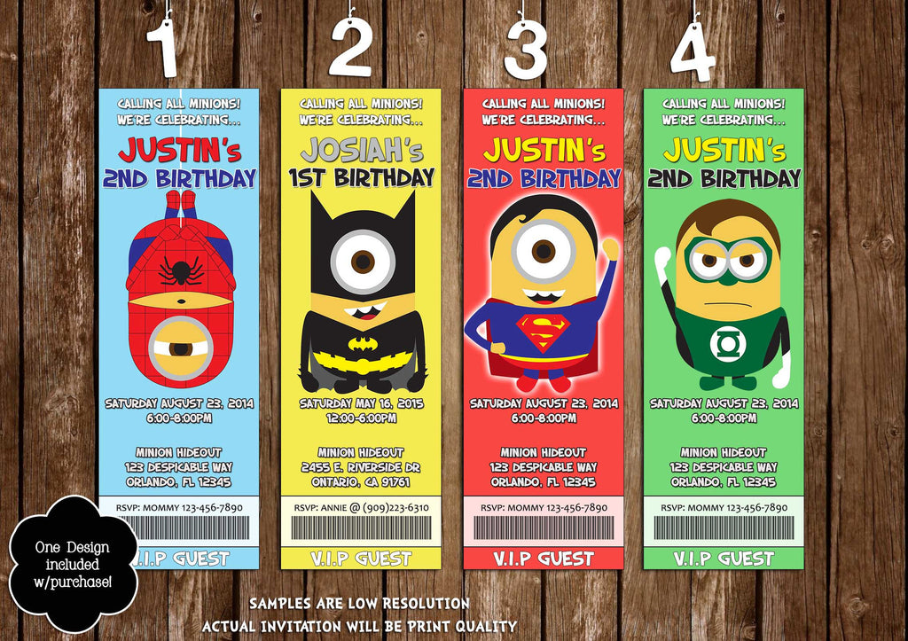 Novel Concept Designs - Super-Hero Minions Birthday Party Ticket