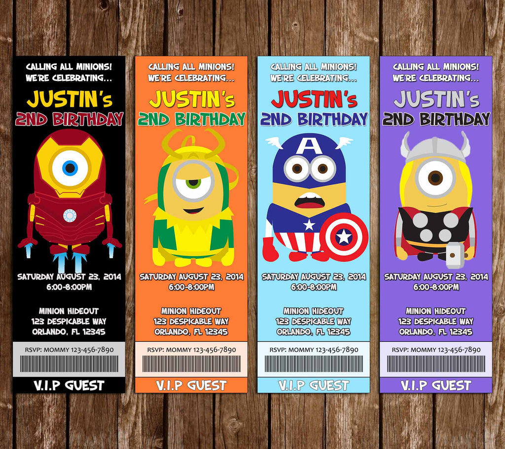 The Avengers Hero Minions Birthday Party Ticket Invitation