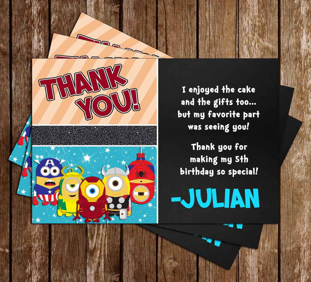 Despicable Me Avenger Hero Minions Birthday Party Thank You Card