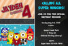Despicable Me Avenger Hero Minions Birthday Party Invitation