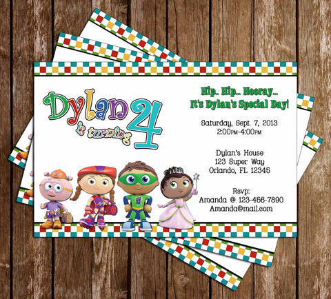 Novel concept designs customized invitations super why birthday party invitation filmwisefo