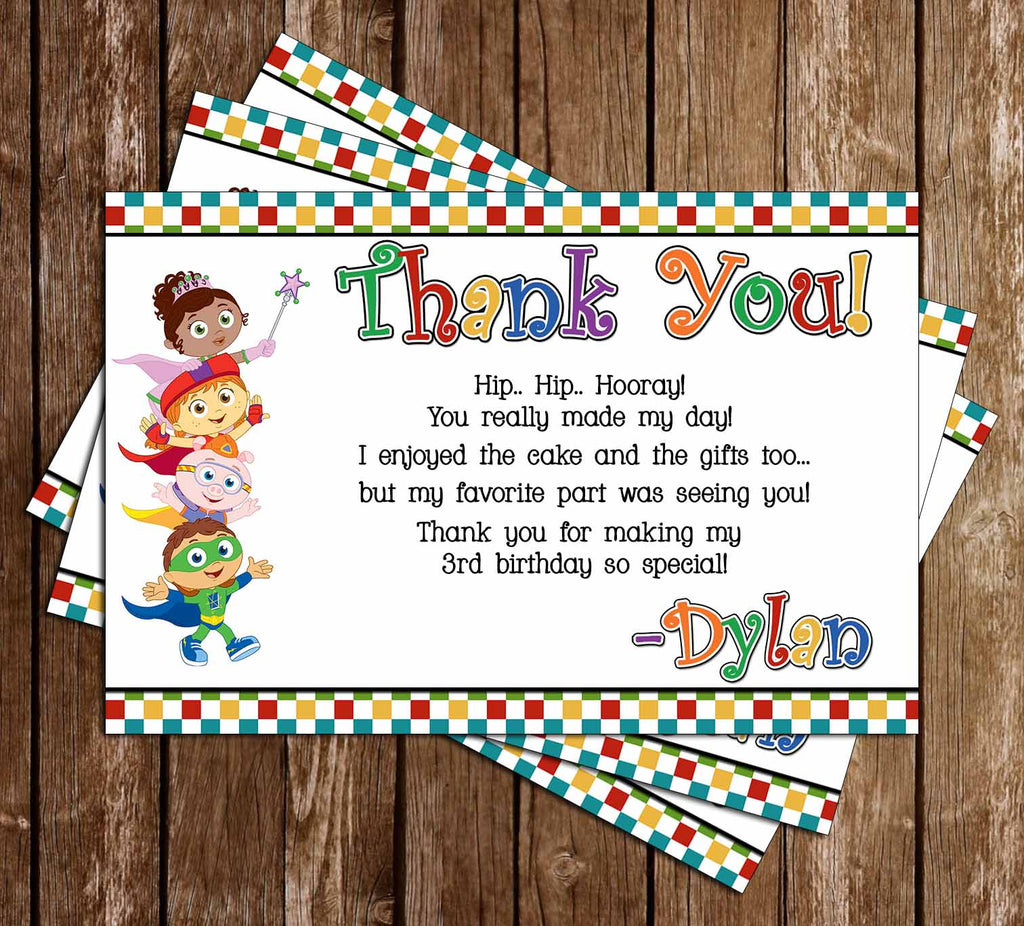 Super Why Show Birthday Party Thank You Card
