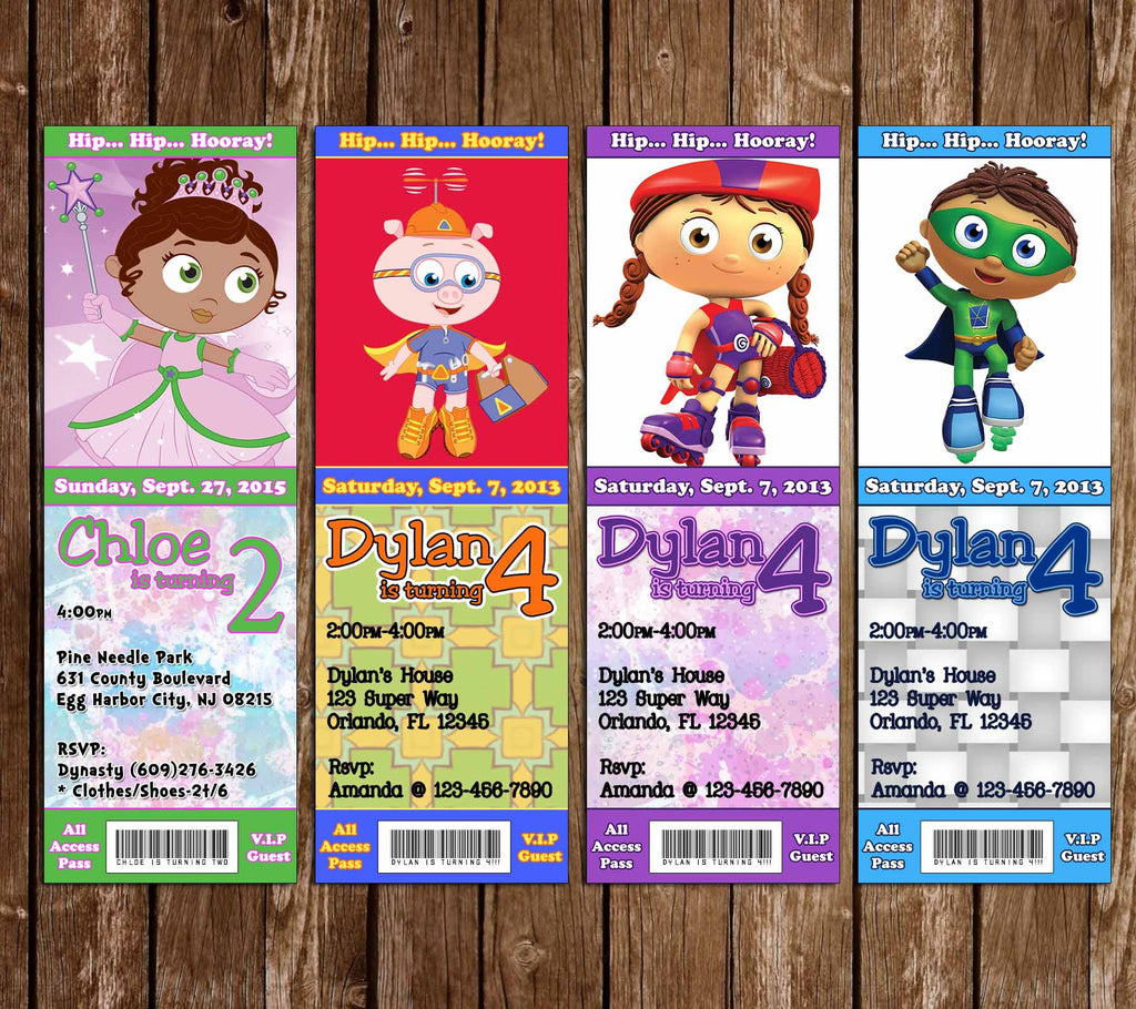 Super Why Birthday Party Ticket Invitation