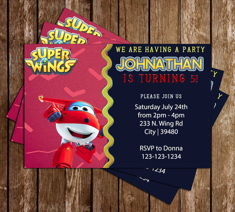 Super Wings - TV Show  - Birthday Party - Invitation