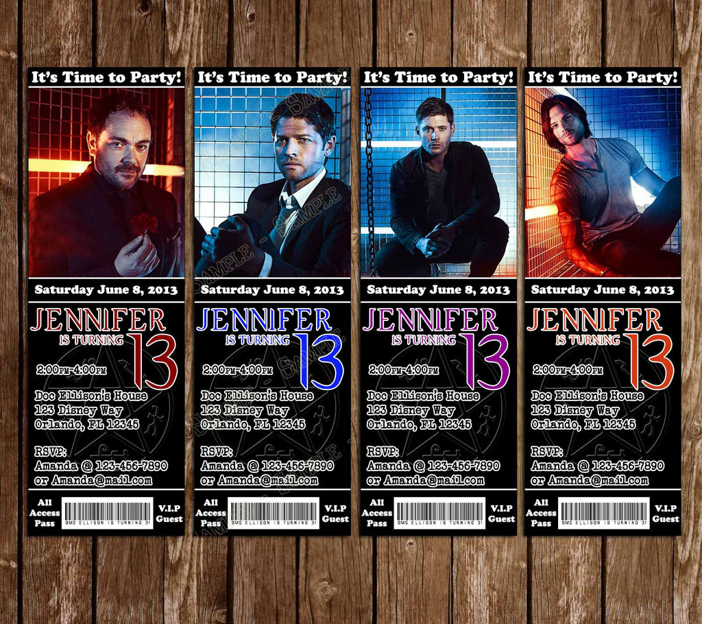 CW Supernatural  Birthday Party Ticket Invitations