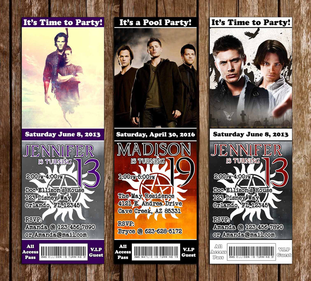CW Supernatural Group Birthday Party Ticket Invitations
