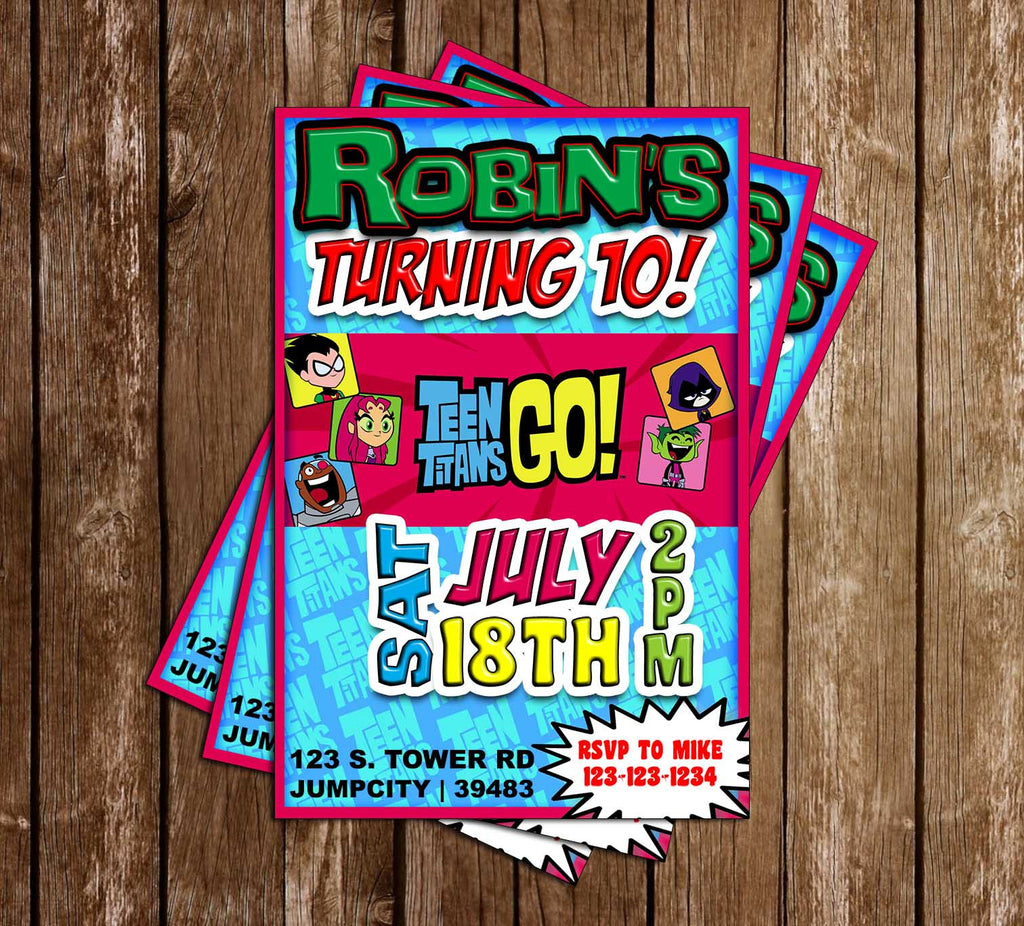 Novel concept designs teen titans go tv show birthday party teen titans go tv show birthday party invitation filmwisefo Images