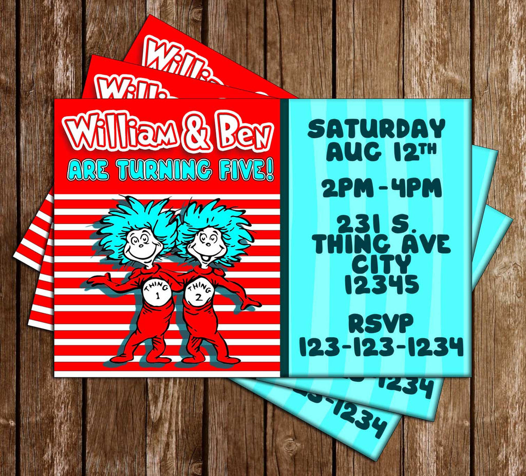 Novel Concept Designs - Thing One & Thing Two - Dr Seuss - Birthday ...