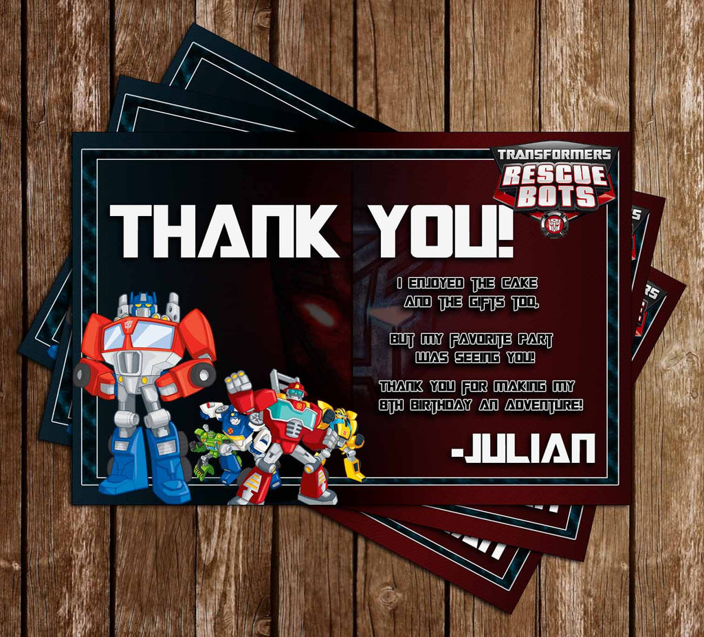 Transformers - Rescus Bots - Birthday Party - Thank You Card