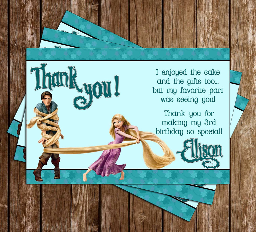 Disney Tangled Movie Birthday Thank You Card
