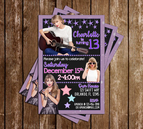 Taylor Swift - Music - Birthday - Party - Invitation