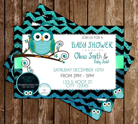 Teal Owl - Baby Shower - Party - Invitation
