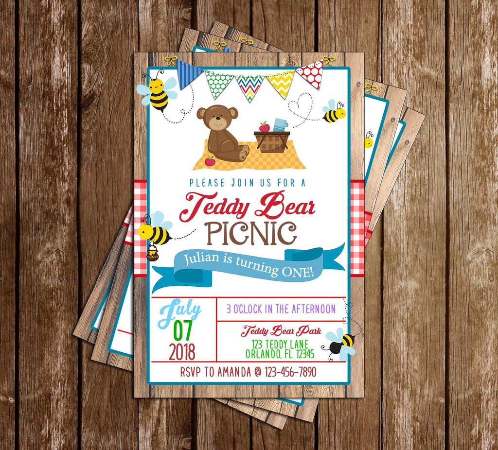 Novel Concept Designs - Teddy Bear Picnic - Birthday Party - Invitation