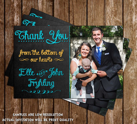 Chalkboard Wedding / Engagement Thank You Card with Photo!