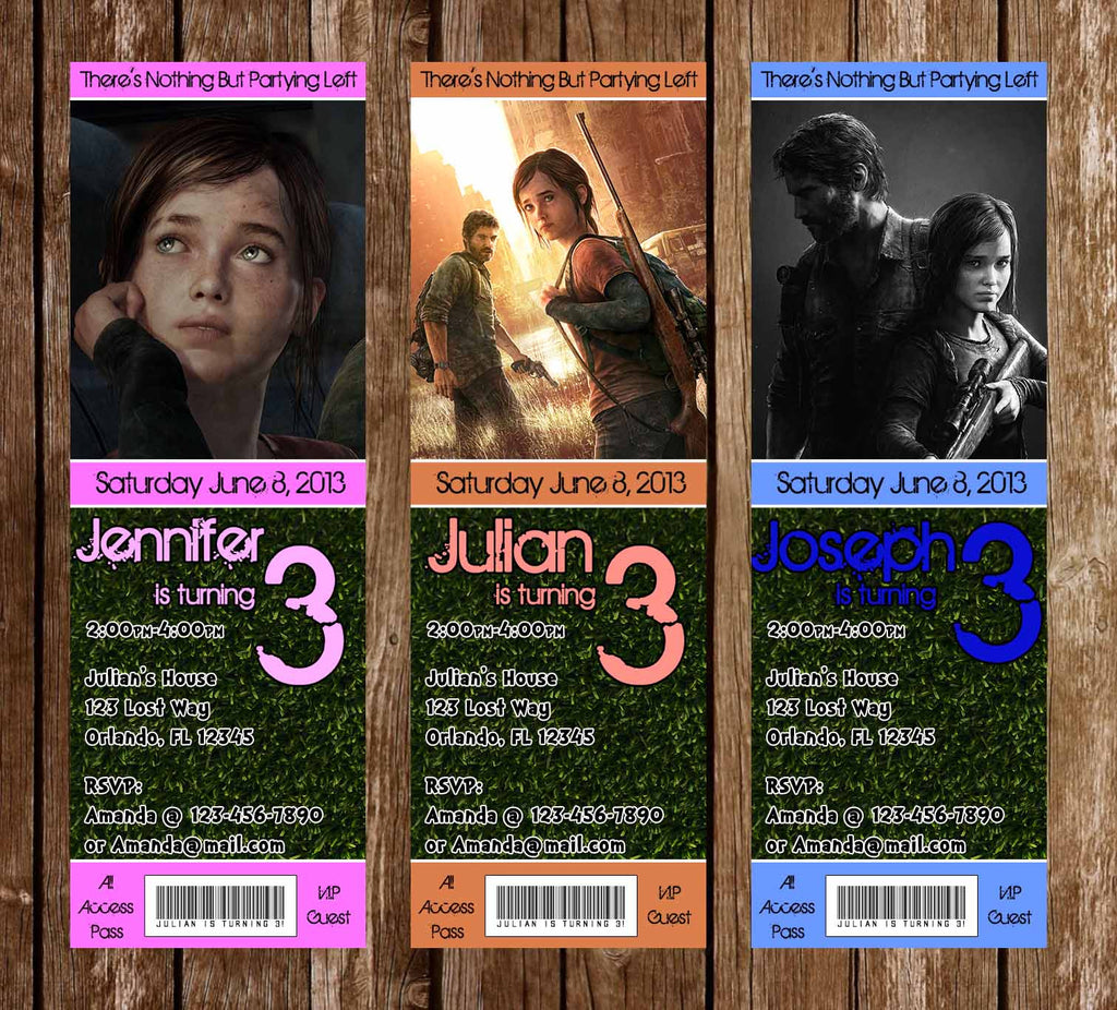 The Last of Us Game Birthday Party Ticket Invitations