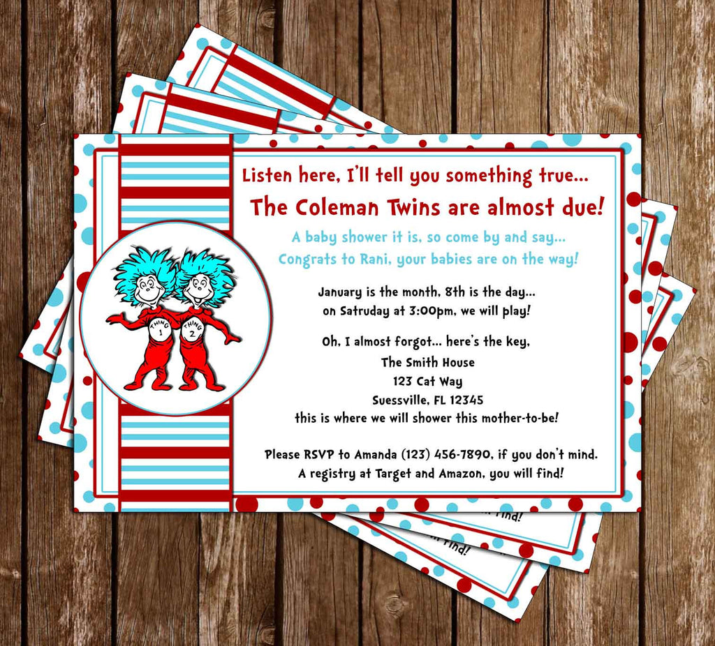 Dr. Seuss Thing One and Thing Two Baby Shower Invitation