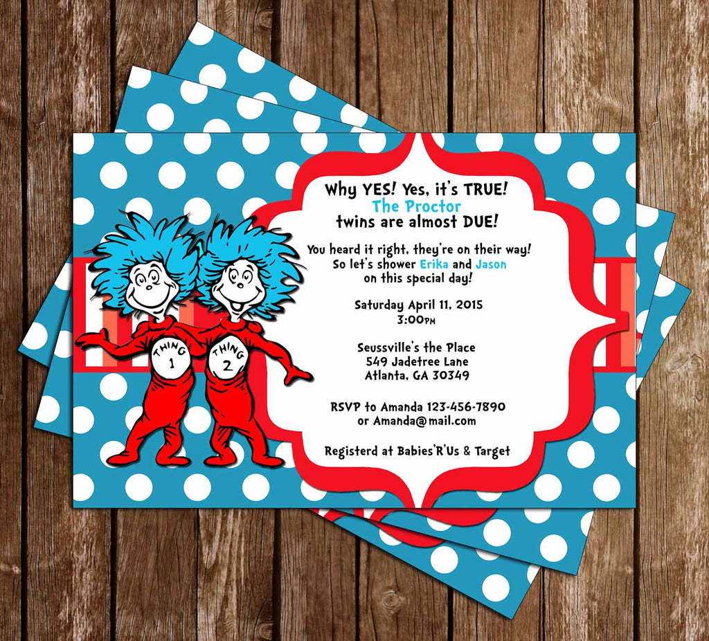 Dr Seuss Thing 1 and Thing 2 - Twins - Baby Shower Invitation