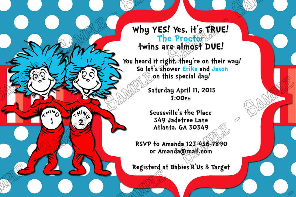 Dr Seuss Thing 1 And Thing 2   Twins   Baby Shower Invitation
