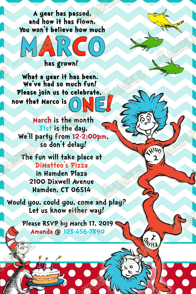 image regarding Dr Seuss Happy Birthday to You Printable identified as Dr Seuss - Factor 1 2 - 1st Birthday Get together Invitation - Printable