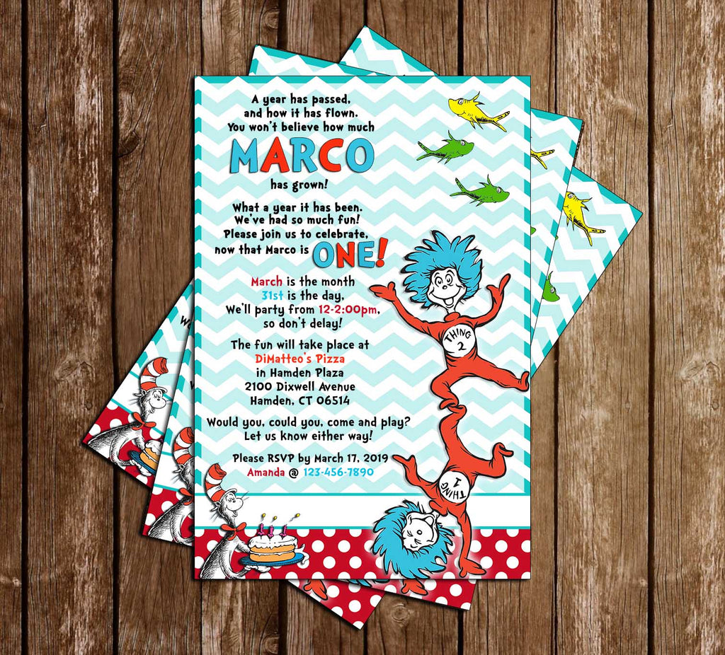 Dr Seuss - Thing One & Two - 1st Birthday Party Invitation - Printable