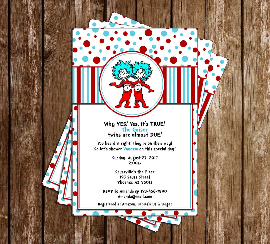 Dr. Seuss - Thing One and Thing Two - Tall - Baby Shower Invitation