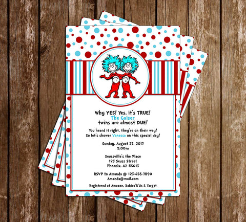 Dr. Seuss - Thing One and Thing Two - Tall - Baby Shower - Invitation