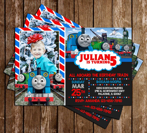 Thomas The Train - Photo - Birthday Invitation