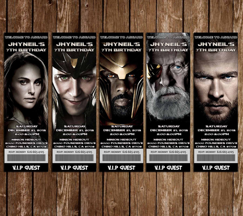 Thor Movie Ticket Birthday Invitations (5 Designs)