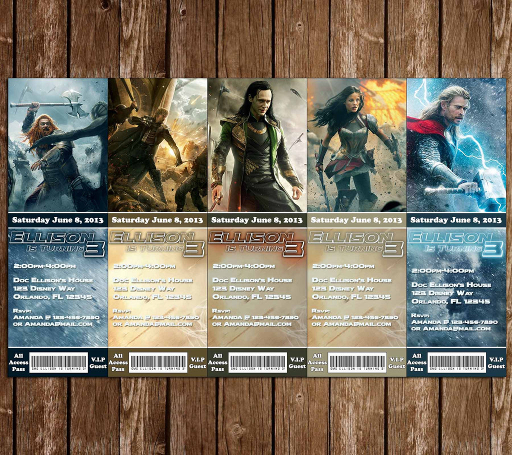 Thor Ticket Birthday Invitations (5 Designs+)