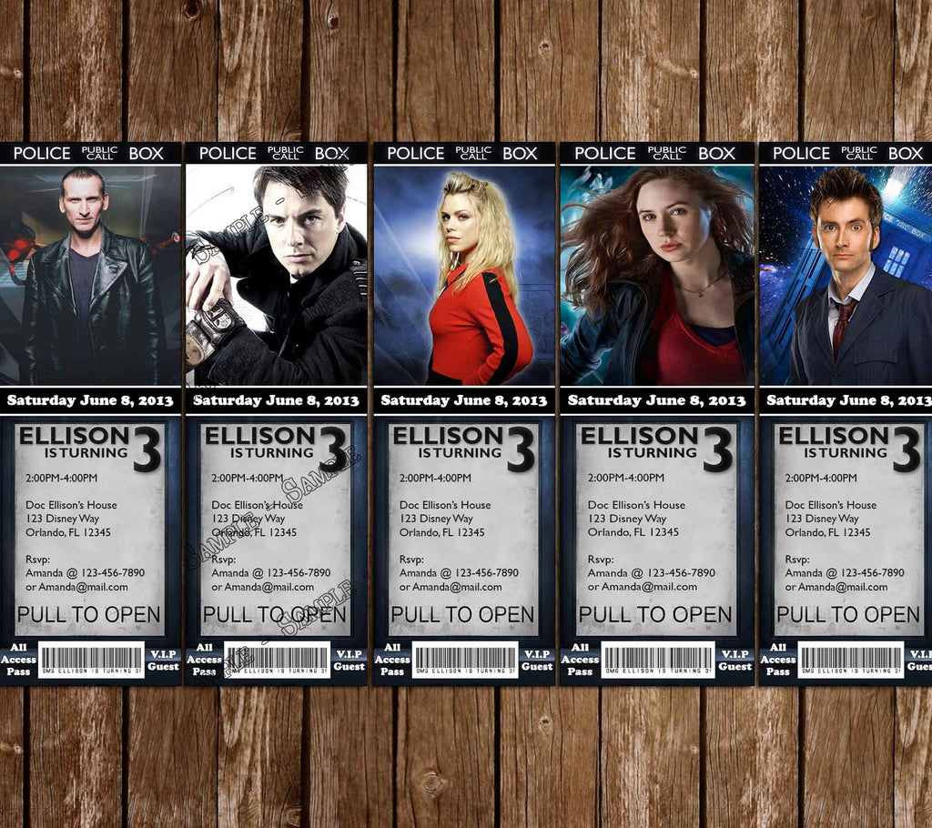 Novel Concept Designs Doctor Who Ticket Birthday Invitations 5