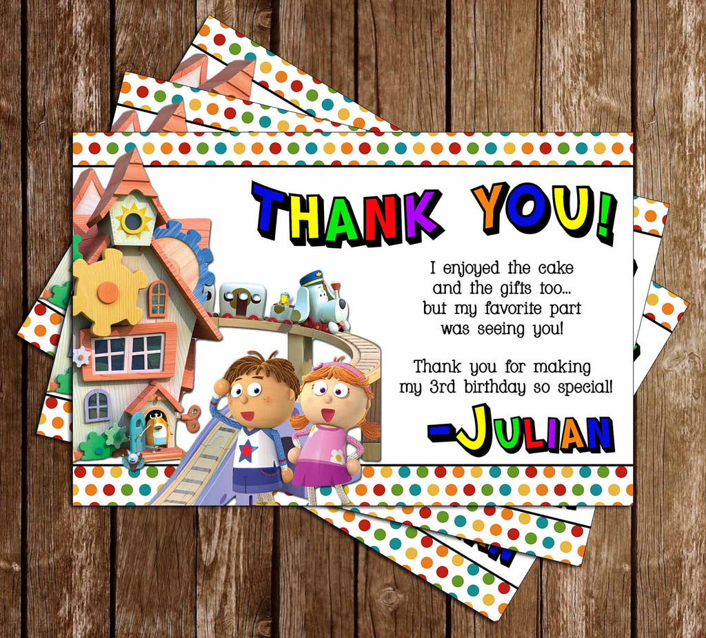 Novel Concept Designs Tickety Toc Birthday Party Thank You Card